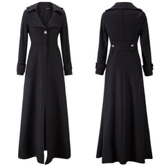 Turn-down Collar Woolen Slim Full Length Coat - Oh Yours Fashion - 12