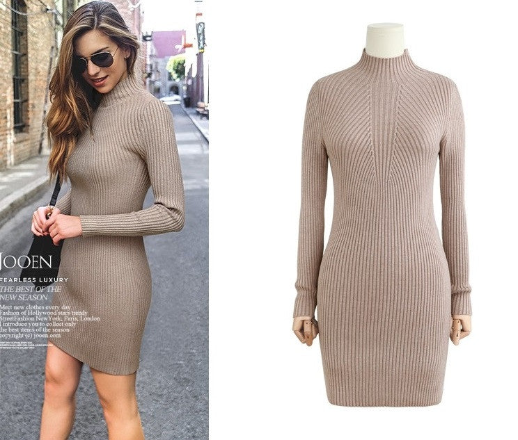 High Neck Bodycon Knitting Sweater Dress - Oh Yours Fashion - 4
