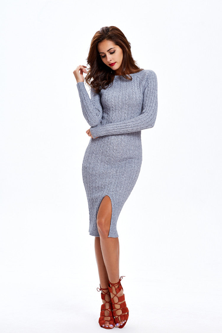 Fashion Slit Slim Twist Knit Long Sweater Dress - Oh Yours Fashion - 7