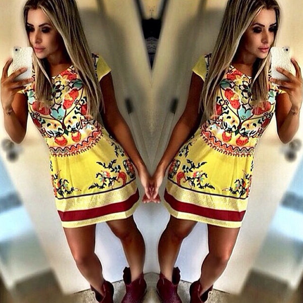 Retro Floral Print A-line Short Dress - O Yours Fashion - 1