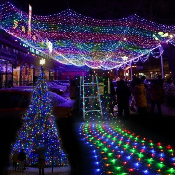 Colorful 300 LED Net Mesh Decorative Fairy Lights Twinkle Lighting Christmas Wedding Party EU - Oh Yours Fashion