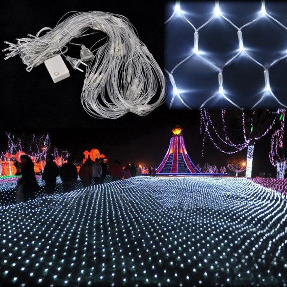White 200 LED Net Mesh Decorative Fairy Lights Twinkle Lighting Christmas Wedding Party US/110V - Oh Yours Fashion