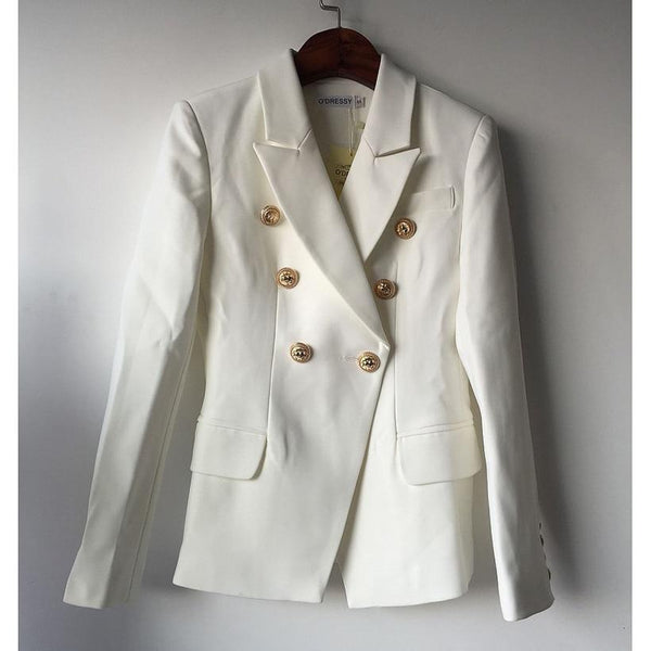 Fashion Designer Blazer Jacket Women's Double Breasted Metal Lion Buttons Blazer