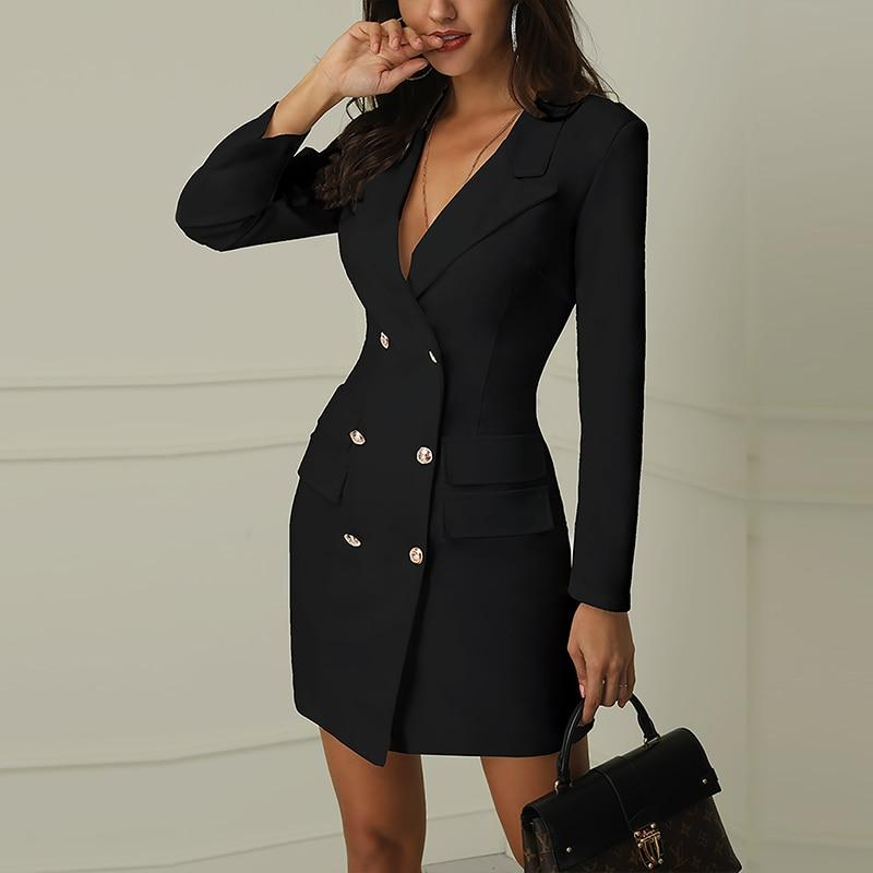 Autumn Winter Suit Blazer Women New Casual Double Breasted Pocket Women Long Jackets Elegant Long Sleeve Blazer Outerwear