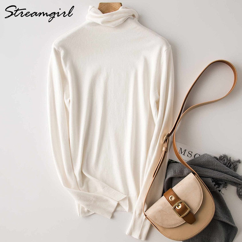Winter Turtleneck Sweater Women Wool Warm Jumpers Ladies Pullover  Autumn Winter Sweaters Black Cashmere Sweater