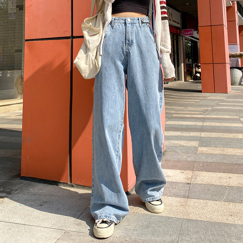 Sexy High Waist Loose Wide Leg Zipper Denim Pants