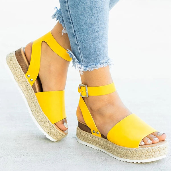 Wedges Platform Leather Open Toe Sandals