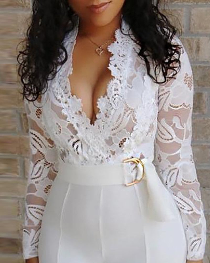 White Sheer Lace High Waist Wide Jumpsuits