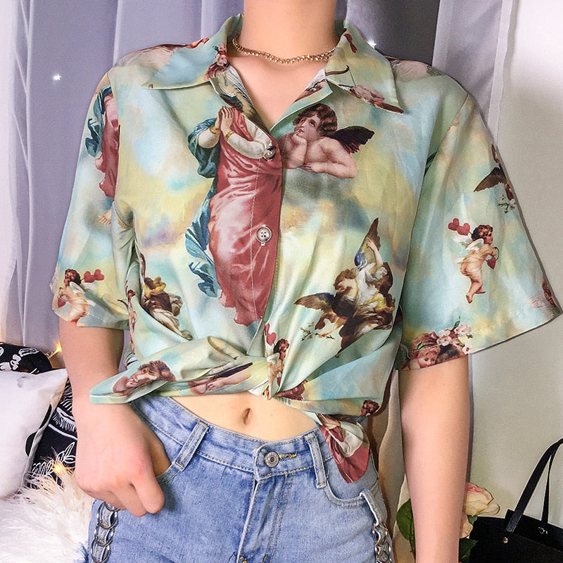 Women's Classic Angel Print Loose Thin Shirt Women Streetwear Roupas Femininas Bluse Women Summer Tops for Women Clothes