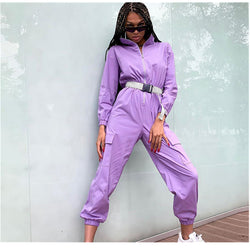 Purple Long Sleeve Zipper Bodycon PocketsJumpsuits