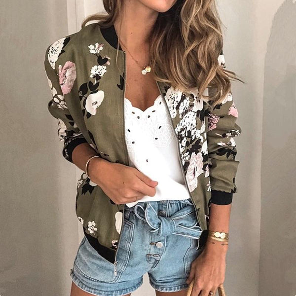 Fashion Retro Floral Print Women Coat Casual Zipper Up Bomber Jacket Ladies Casual Autumn Outwear Coats