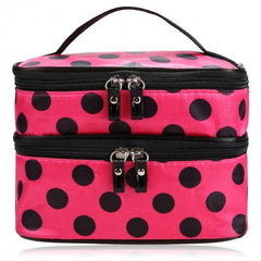 New Travel Double Layer Zipper Retro Portable Cosmetic Case Makeup Toiletry Holder Bag - Oh Yours Fashion - 1