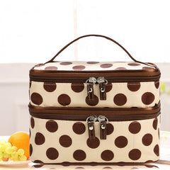 New Travel Double Layer Zipper Retro Portable Cosmetic Case Makeup Toiletry Holder Bag - Oh Yours Fashion - 2