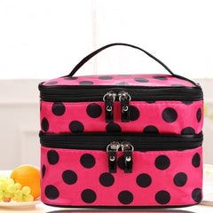 New Travel Double Layer Zipper Retro Portable Cosmetic Case Makeup Toiletry Holder Bag - Oh Yours Fashion - 3