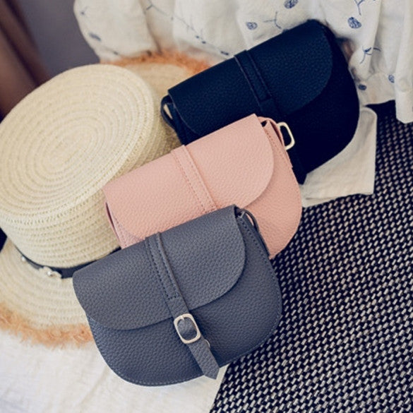 New Women Synthetic Leather Messenger Bag Soft Solid Flap Bag Hasp Closure Casual Party Shoulder Bag - Oh Yours Fashion - 1