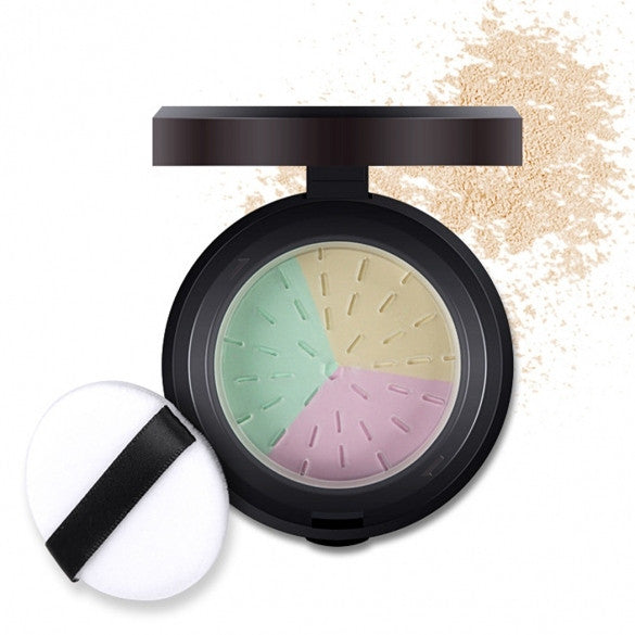 3 Colors In 1 Loose Powder Bare Mineral Polishing Longlasting Face Powder With Mirror And Puff - Oh Yours Fashion - 1