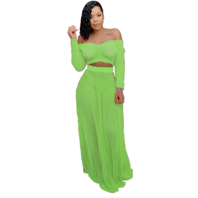 Strapless Crop Top Long MAXI Skirt Set