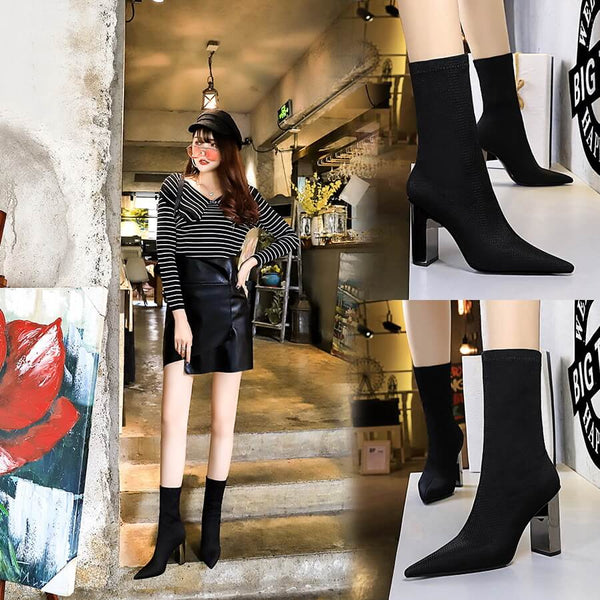 Sexy Black Point Toe Wool High Chunky Heel Calf Boots