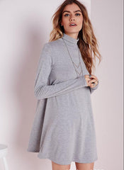 Simple Fashion High Neck Long Sleeve Loose Short Dress - Oh Yours Fashion - 4