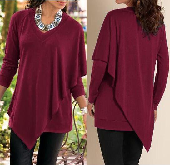 V-neck Pure Color False Two Picture Cloak Blouse - Oh Yours Fashion - 1
