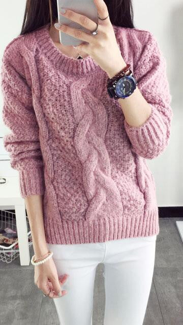 Pull over Loose Pure Color Long Sleeve Sweater - Oh Yours Fashion - 2