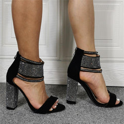 Summer Black Rhinestone Open Toe Chunky Heel Sandals