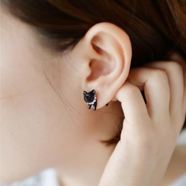 Cute Little Cat Through Single Earring - Oh Yours Fashion