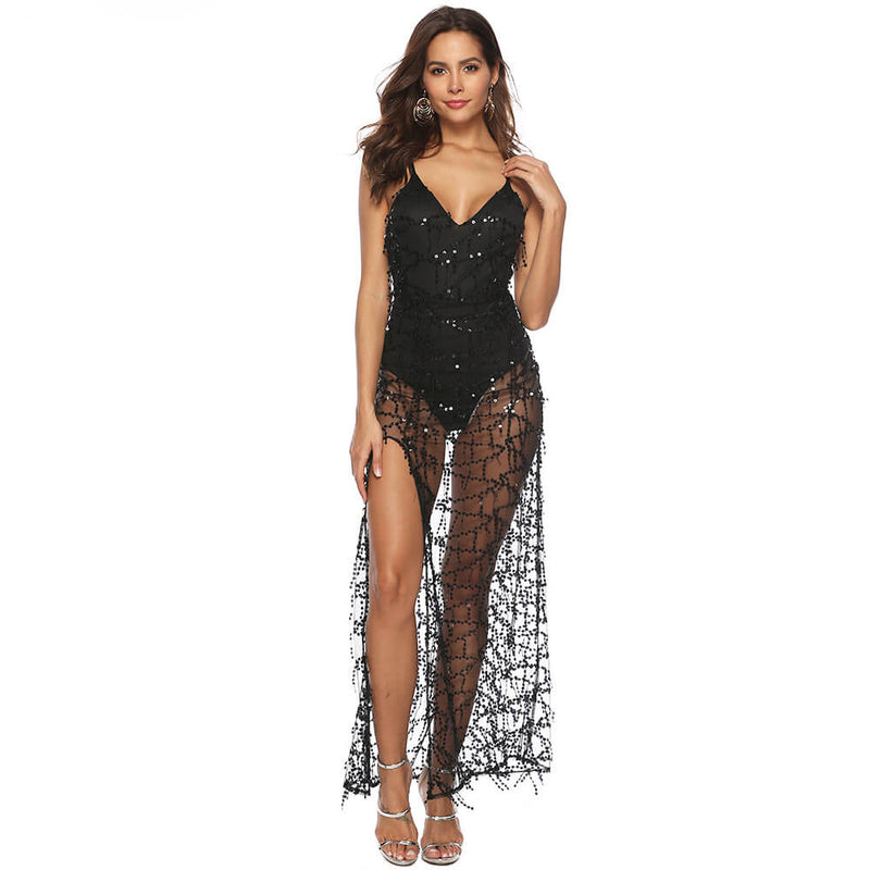 Deep V Neck See Through Beach Jumpsuit