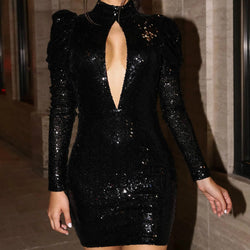 Turtleneck Sequin Bodycon Short Dress