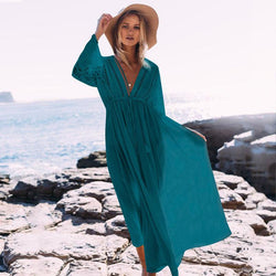 Lace Splice Beach Ankle Length Dress