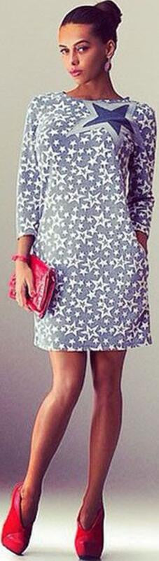 Fashion Star Print Long Sleeve Short Slim Dress - Oh Yours Fashion - 2