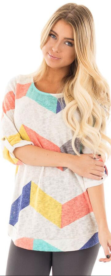 Fashoin Break Stripe Adjustable 3/4 Sleeve Scoop T-shirt - Oh Yours Fashion - 2