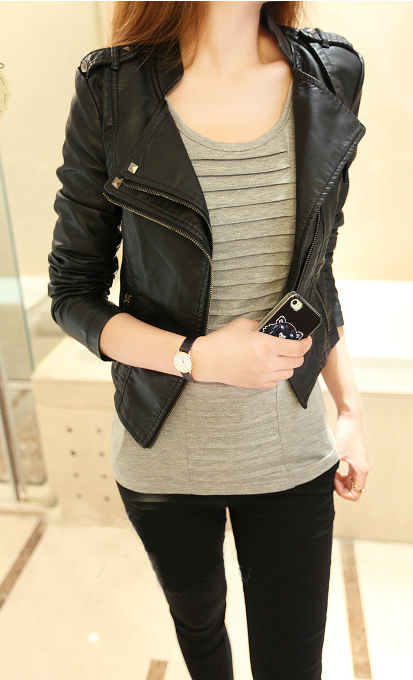 Stand Collar PU Zipper Slim Short Jacket - Meet Yours Fashion - 4