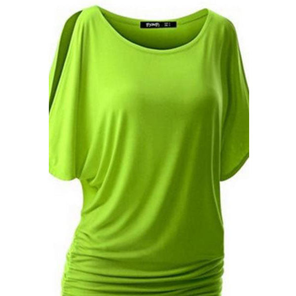 Pure Color Bat-wing Sleeves Scoop Bodycon Sexy T-shirt