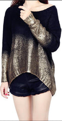 Bat Sleeve Scoop Loose Sequins Sweater - Oh Yours Fashion - 2