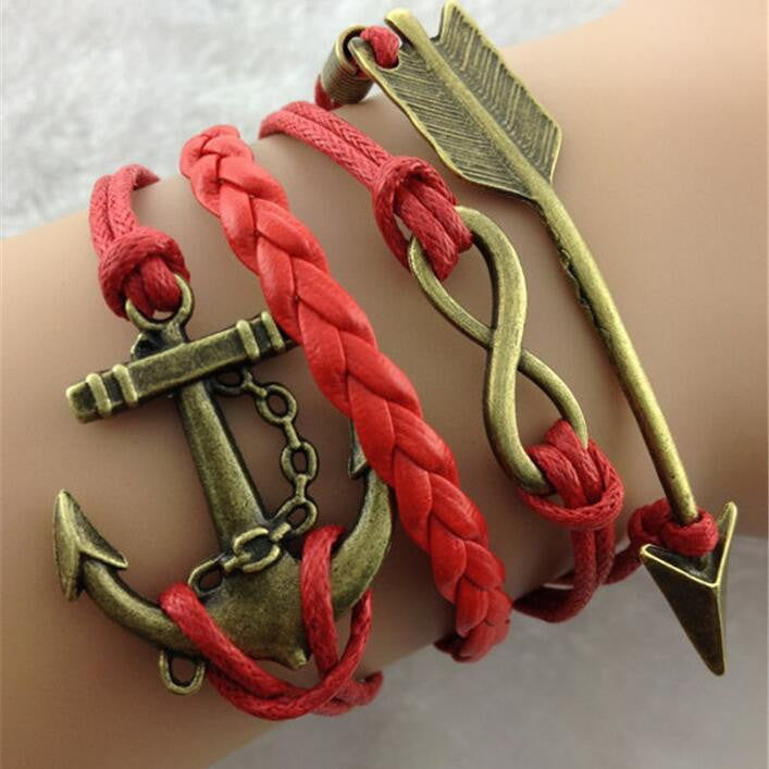Arrow Anchor Red Rope Woven Bracelet - Oh Yours Fashion