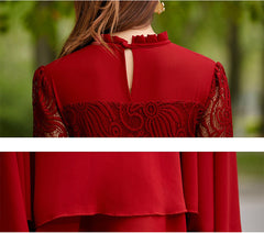 Charming Long Lace Sleeves Pleated Chiffon Long Red Maxi Dress - O Yours Fashion - 6