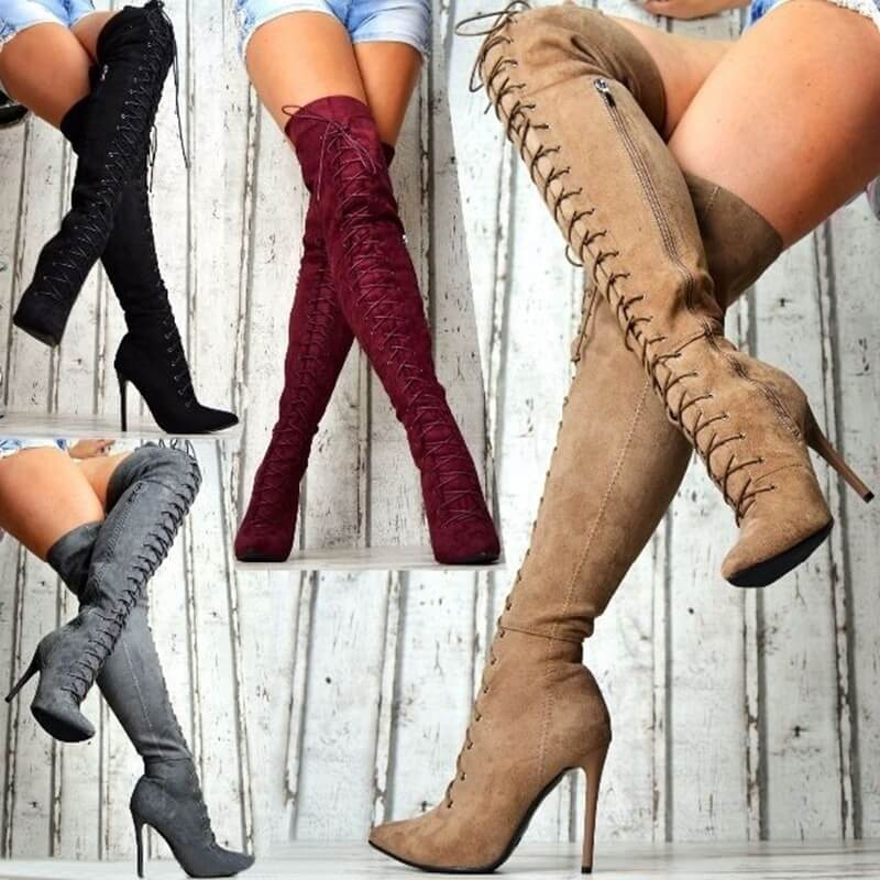 Scrub Point Toe High Heel Strap Over Knee Boots
