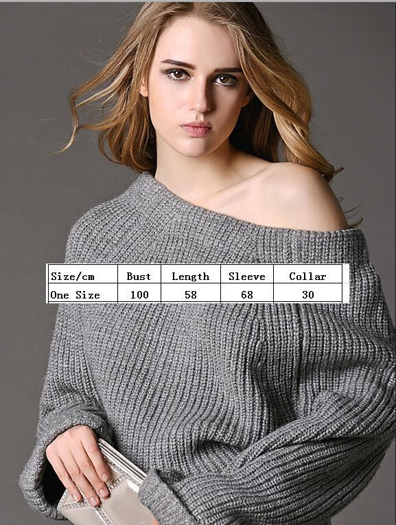 Sexy Off Shoulder Loose Knitting Sweater - Oh Yours Fashion - 4
