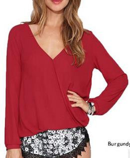 Deep V-neck Long Sleeves Chiffon Plus Size Blouse - Oh Yours Fashion - 4
