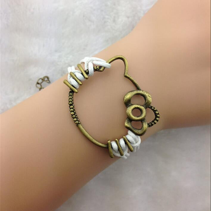 Cute Kitty Hand-made Leather Cord Bracelet - Oh Yours Fashion