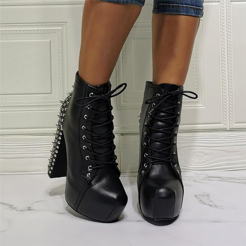 Black PU Platform Rivet High Heel Ankle Boots