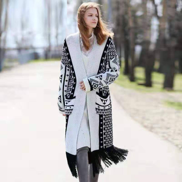 Colorblock Long Printed Knit Cardigan