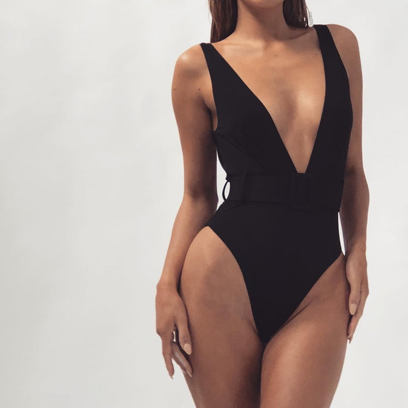 V Neck Belt High Cut Low Back Swimsuits