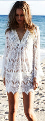 Hook Flower Hollow Out Beach White Short Dress - Oh Yours Fashion - 2