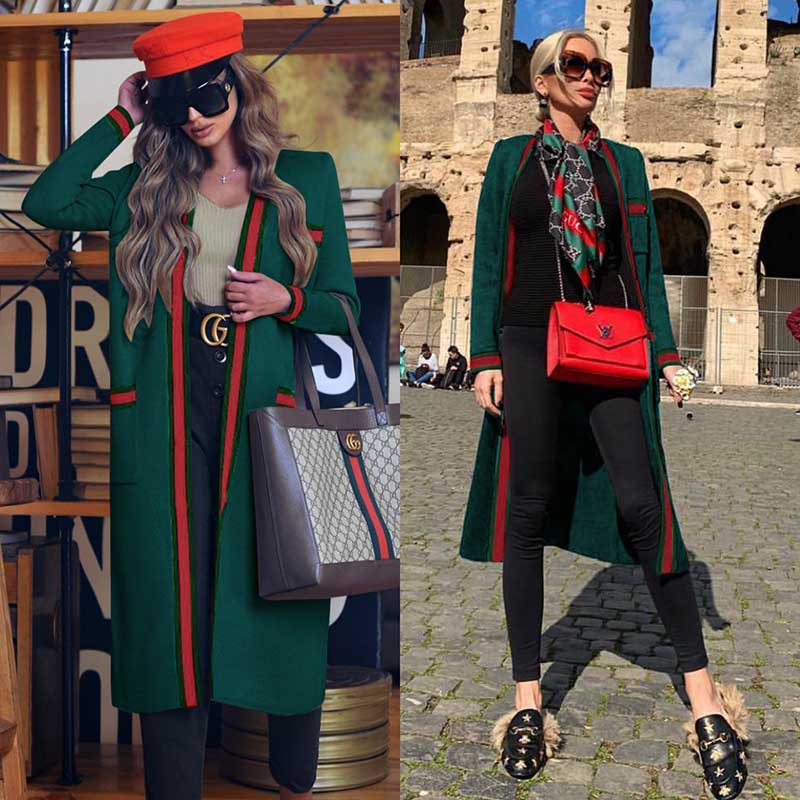 Open Front Line Colorblock Coat