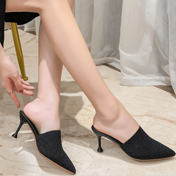 Simple Pointed Toe Kit Heel Cutout Mules Sandals