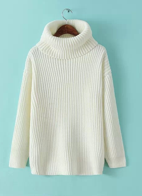 Lapel Pullover Loose High Collar Solid Sweater - Oh Yours Fashion - 2