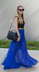 Pure Color Chiffon Pleated Big Long Skirt - Oh Yours Fashion - 6