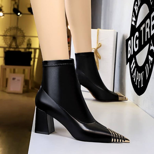 Winter Black PU Point Toe High Chunky Heel Calf Boots